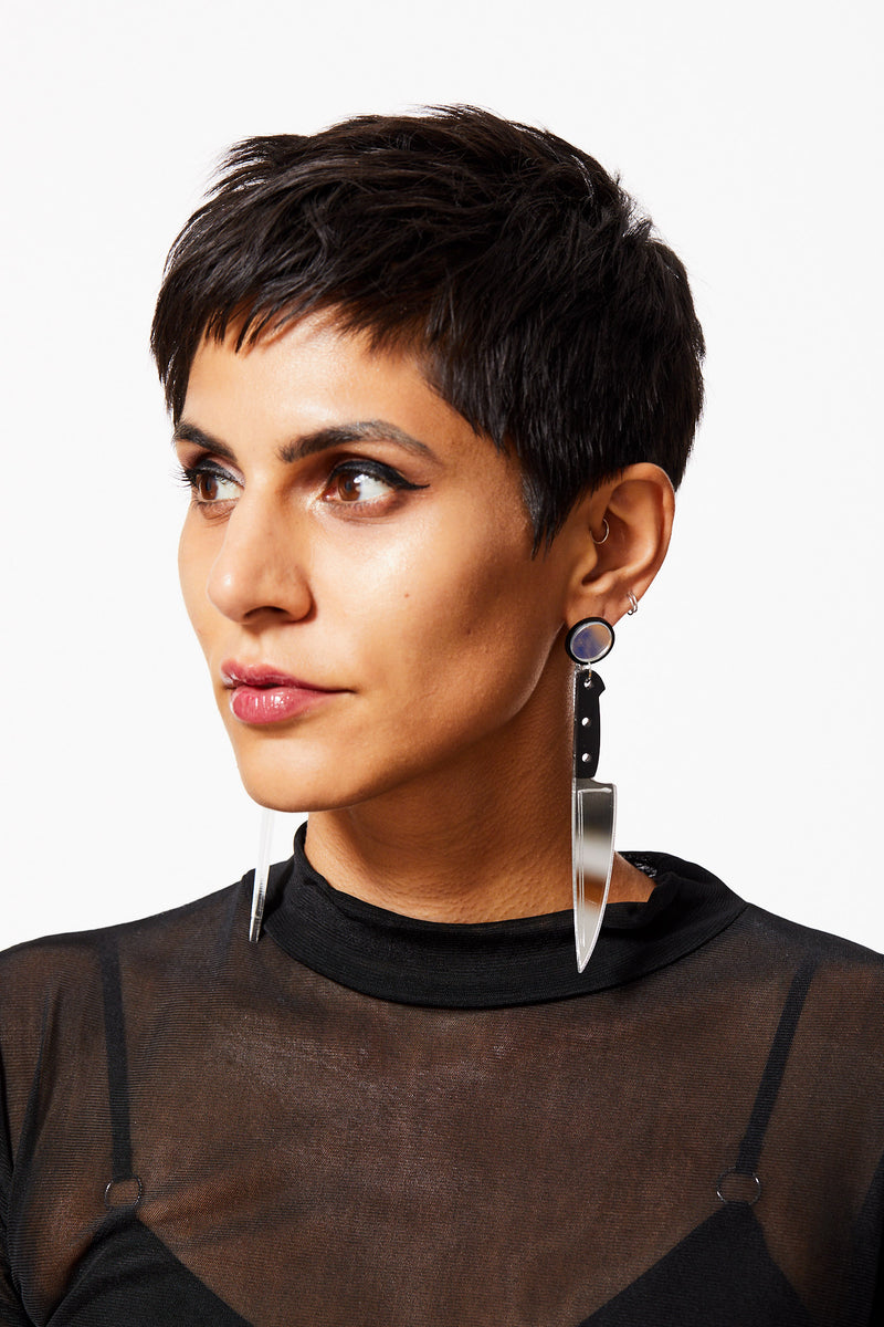 CUT A BISH SILVER ACRYLIC KITCHEN KNIFE EARRINGS