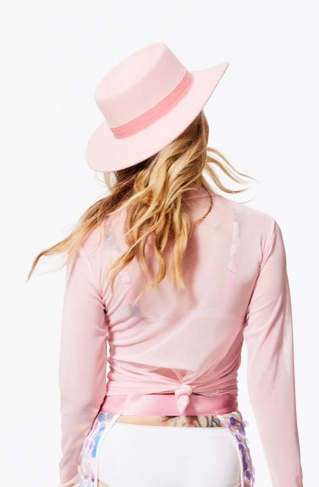 FEELING LUCKY PINK WOOL GAMBLER HAT