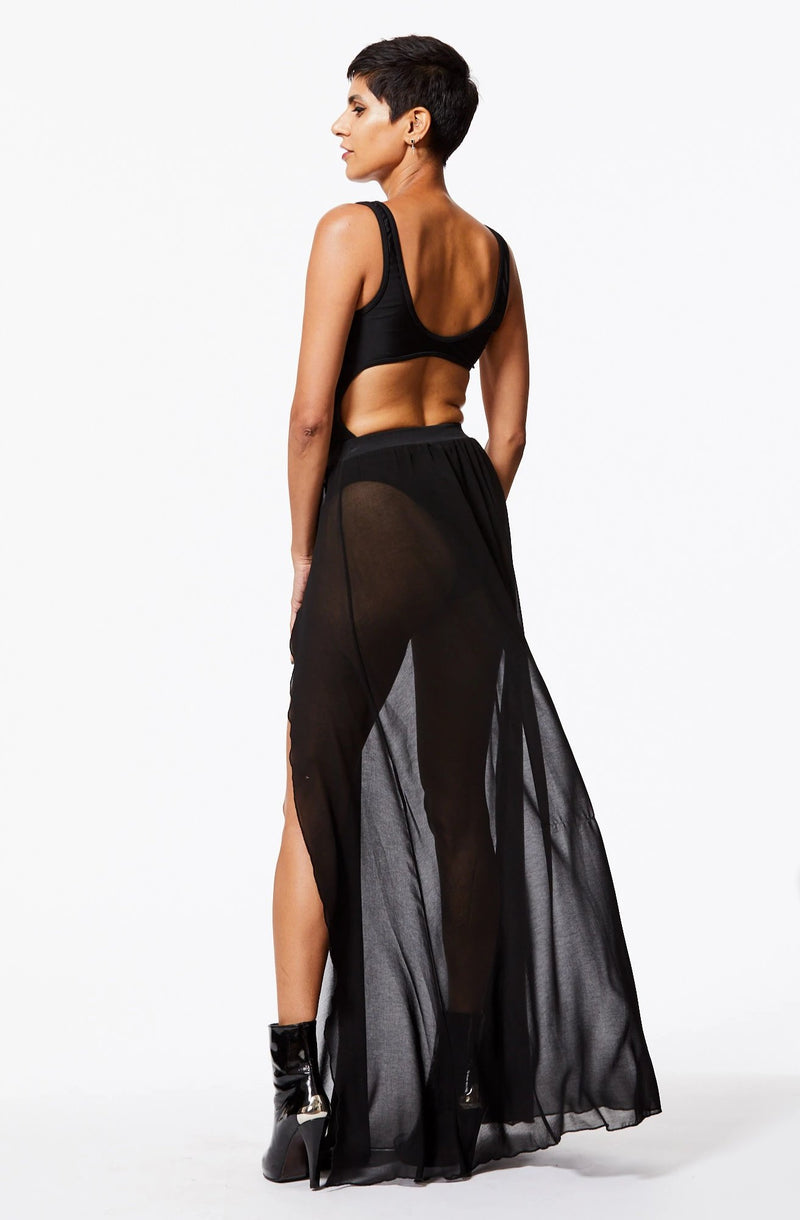 FLOSSY SHEER HIGH-WAISTED SKIRT IN BLACK SAND