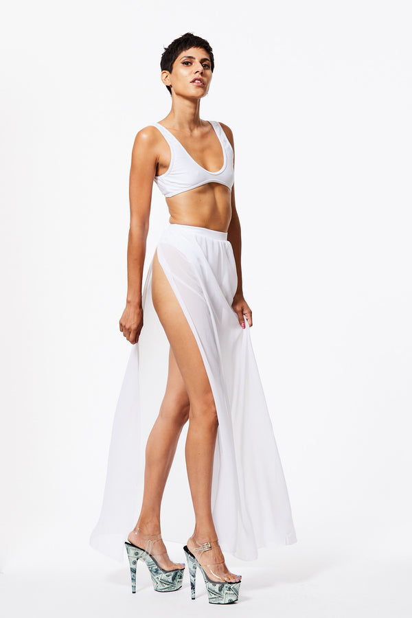 FLOSSY SHEER HIGH-WAISTED SKIRT IN WHITE SAND