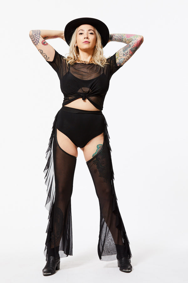 GETTING ROWDY SHEER MESH HIGH-WAISTED RUFFLED CHAPS