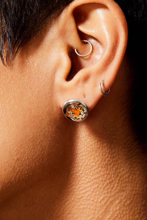 GLASS TIIGER STUDDED EARRINGS