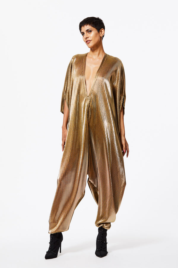 GOLD ACCORDION PLEATED JUMPSUIT S/M