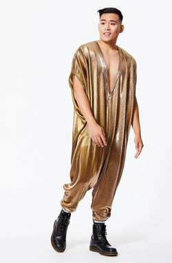 GOLD ACCORDION PLEATED JUMPSUIT XL