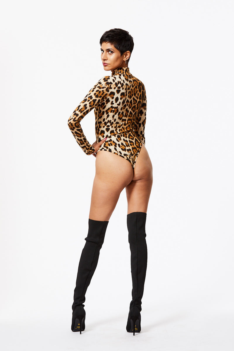 KITTY GIRL LEOPARD PRINT HIGH NECK LONG SLEEVE BODYSUIT