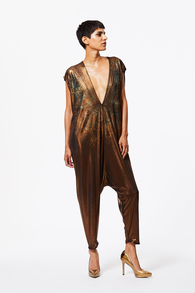 LIQUID BRONZE PAINTED PLAYSUIT - REPTILIAN DREAM - ARTIST ORIGINAL
