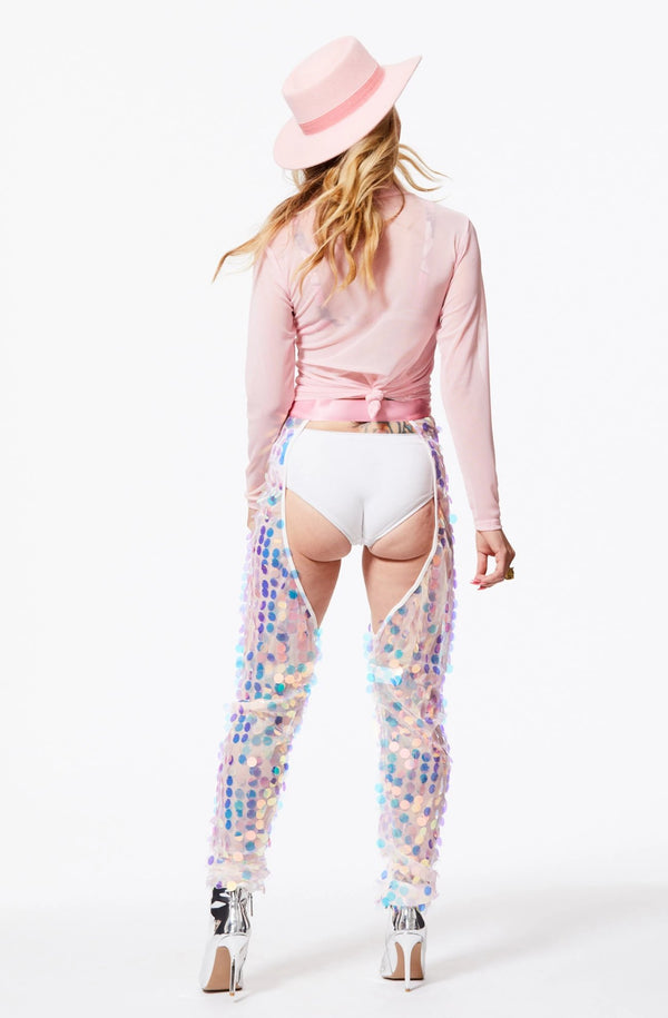 PARTY PANTS HIGH-WAISTED SEQUIN CHAPS