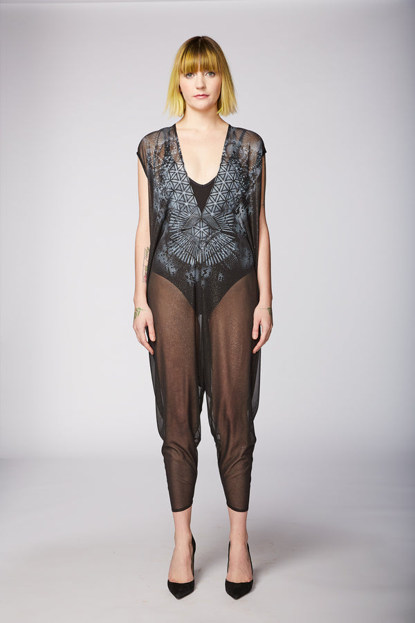 SHEER BLACK CHIFFON PAINTED PLAYSUIT - KALEIDOSCOPE - ARTIST ORIGINAL