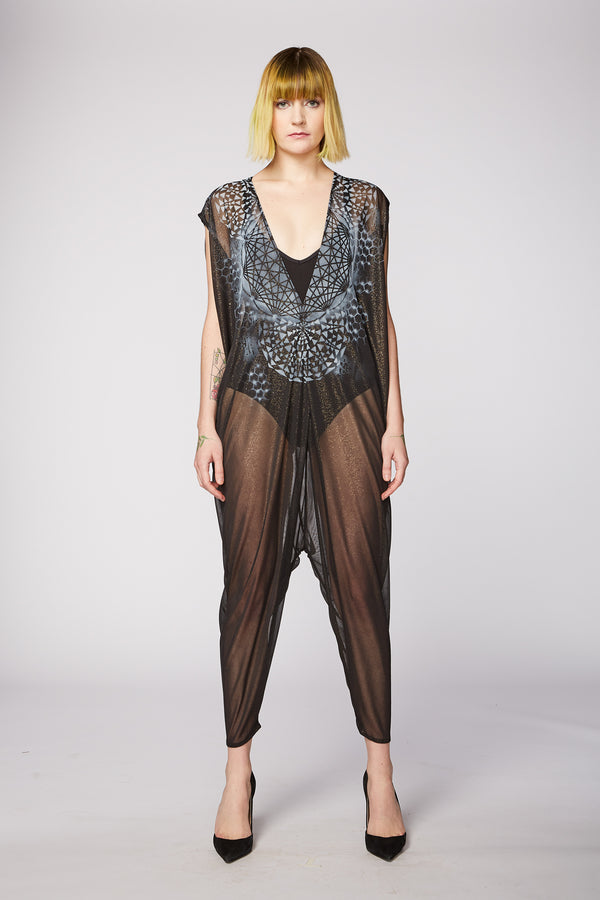 SHEER BLACK CHIFFON PAINTED JUMPSUIT - TRIANGLES & GEOMETRY - ARTIST ORIGINAL
