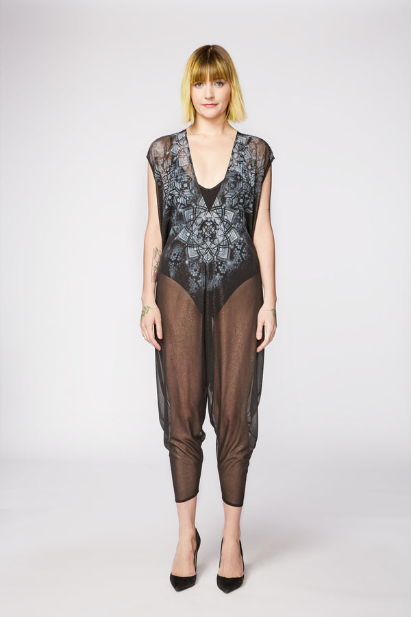SHEER BLACK CHIFFON PAINTED PLAYSUIT - LOTUS SNOWFLAKE - ARTIST ORIGINAL