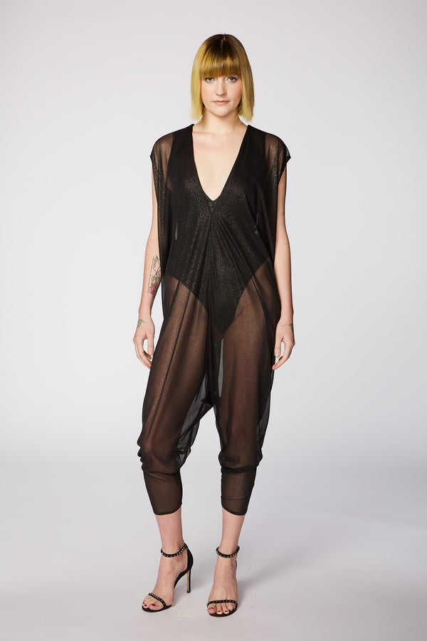 SHEER BLACK CHIFFON JUMPSUIT
