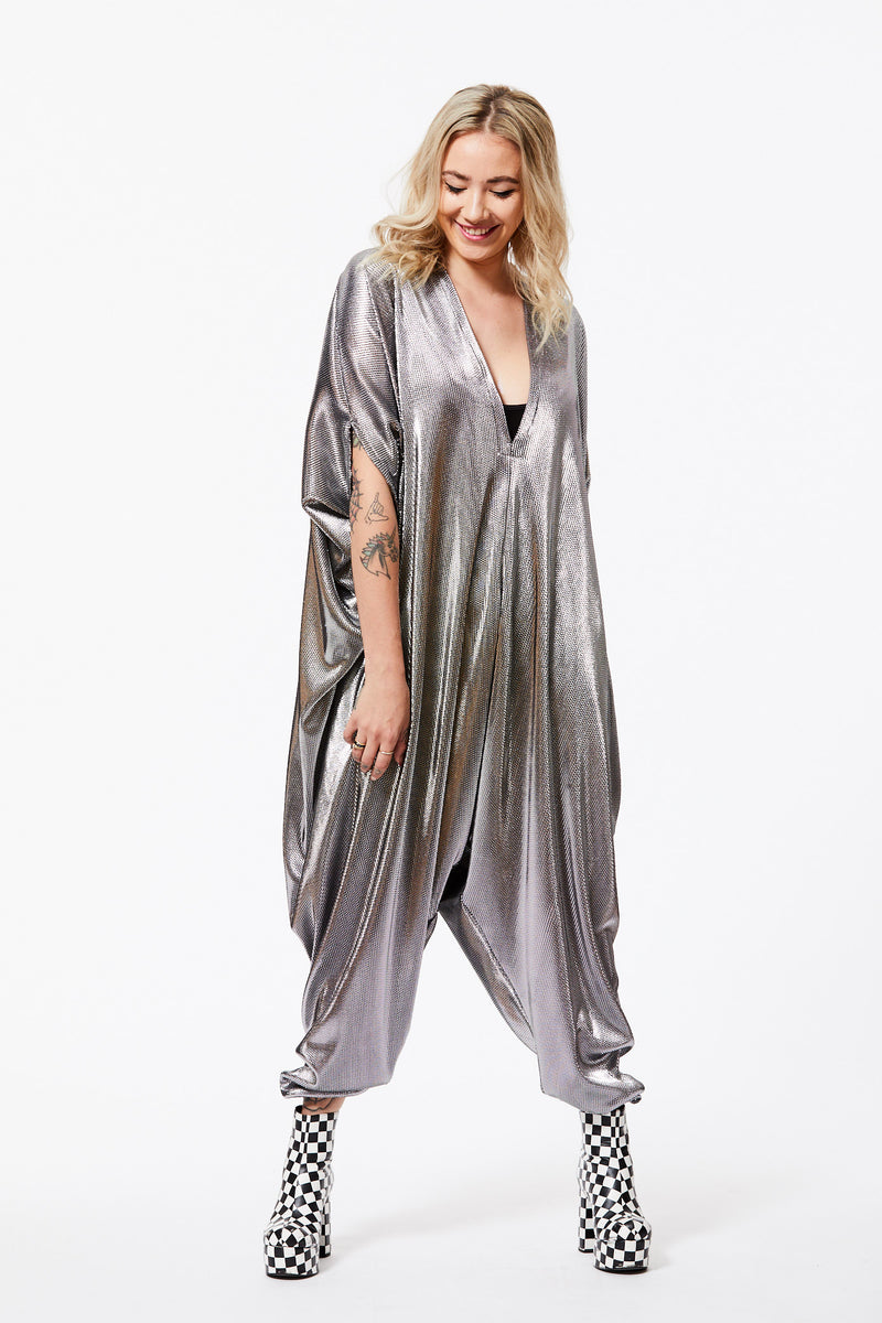 SILVER ACCORDION PLEATED PLAYSUIT S/M