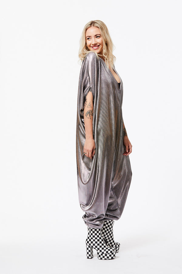 SILVER ACCORDION PLEATED JUMPSUIT S/M