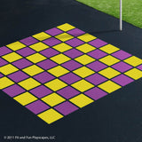 Chess and Checkers (21in squares) – Purple and Yellow Paint