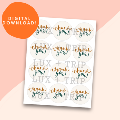 Printable Thank You Sticker Sheet