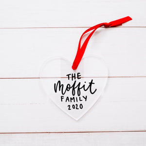 Custom Hand Lettered Acrylic Heart Ornament
