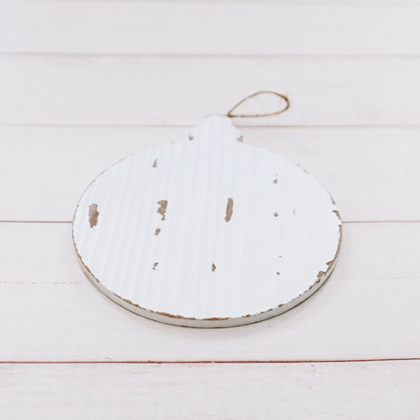 Custom Painted White Wood Ornament