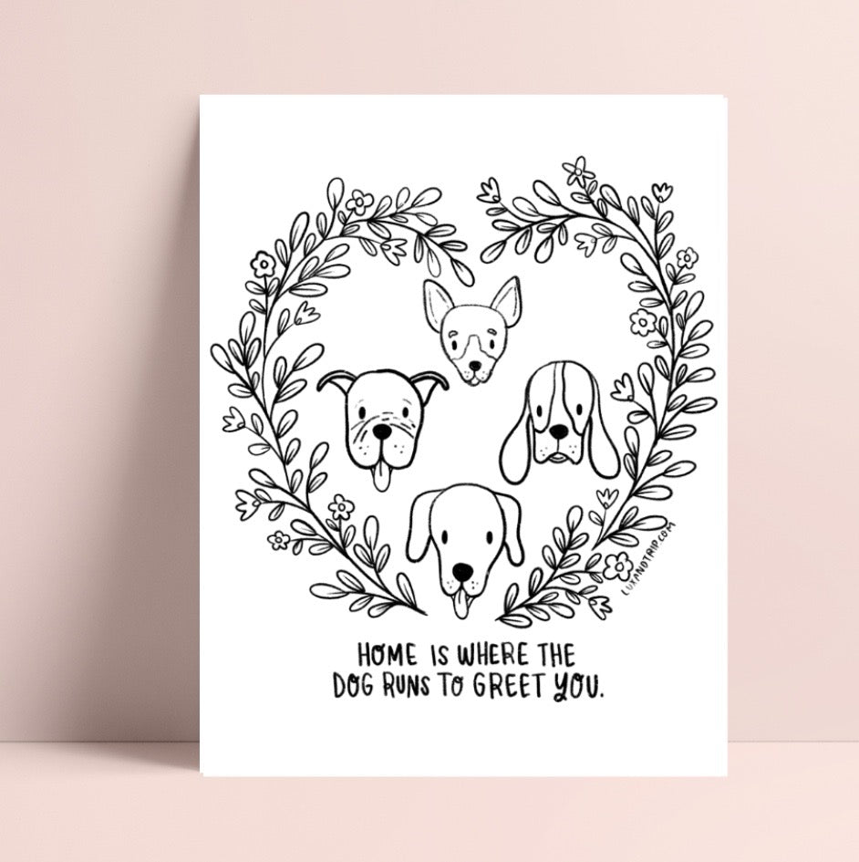 Printable Home and Dogs Coloring Page