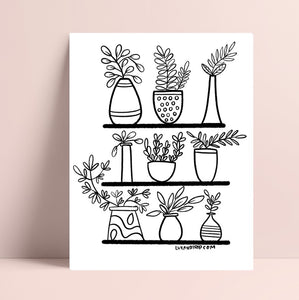 Printable Plant Shelf Coloring Page
