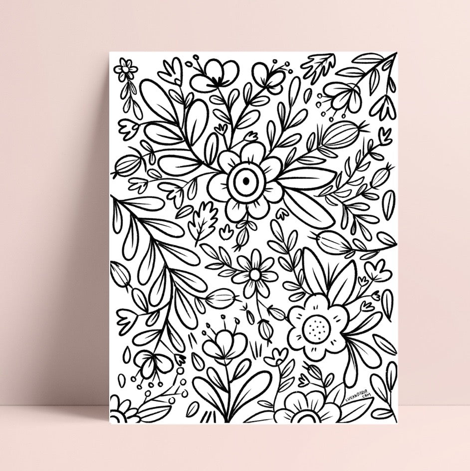 Printable Flower Wall Coloring Page