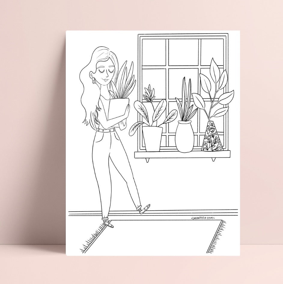 Printable Girl and her Plants Coloring Page