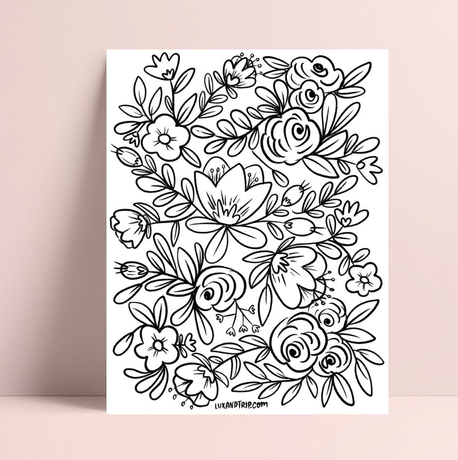 Printable Flower Wall 2 Coloring Page