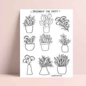 Printable Plant Decor Coloring Page