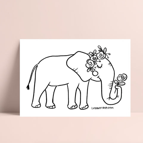 Printable Elephant Coloring Page