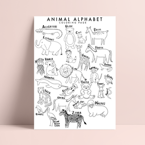 PRINTABLE Animal Alphabet Coloring Page