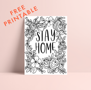 Printable STAY HOME Coloring Page
