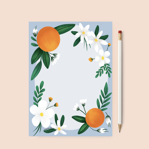 Printable Orange Blossom Stationery Page