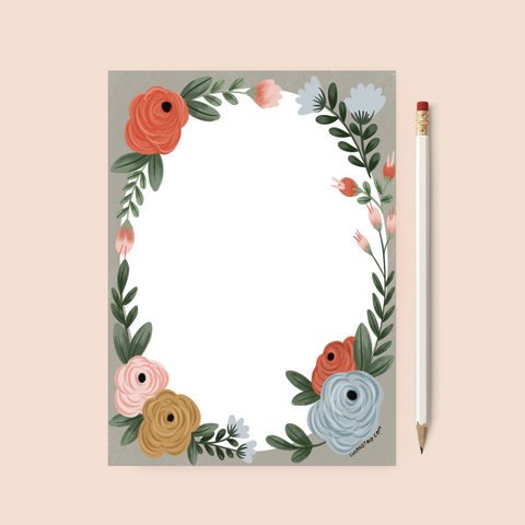Printable Floral Stationery Page