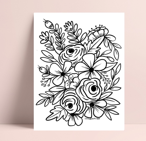 Printable Floral Bunch Coloring Page