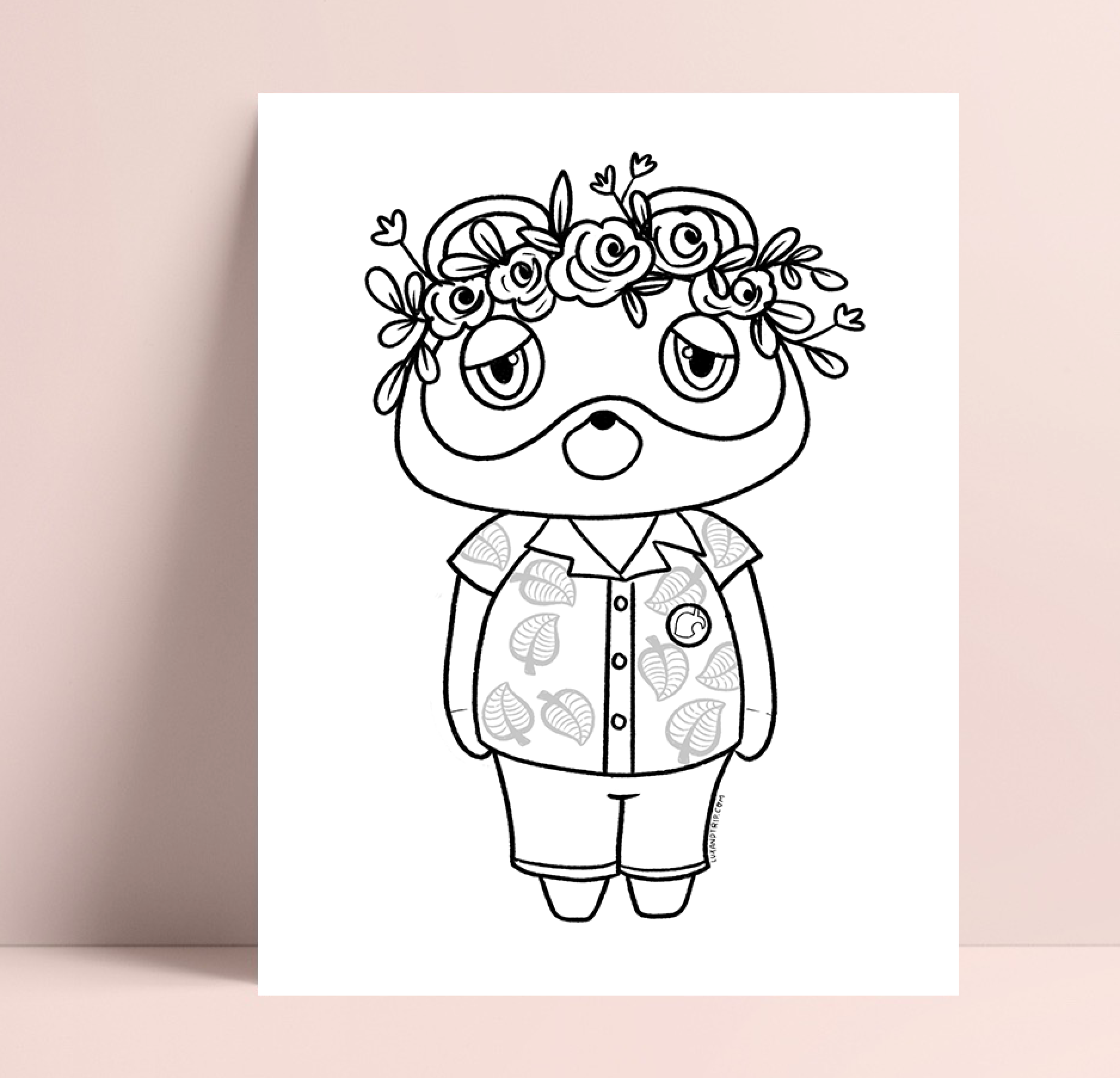 Printable Nook Floral Crown Coloring Page