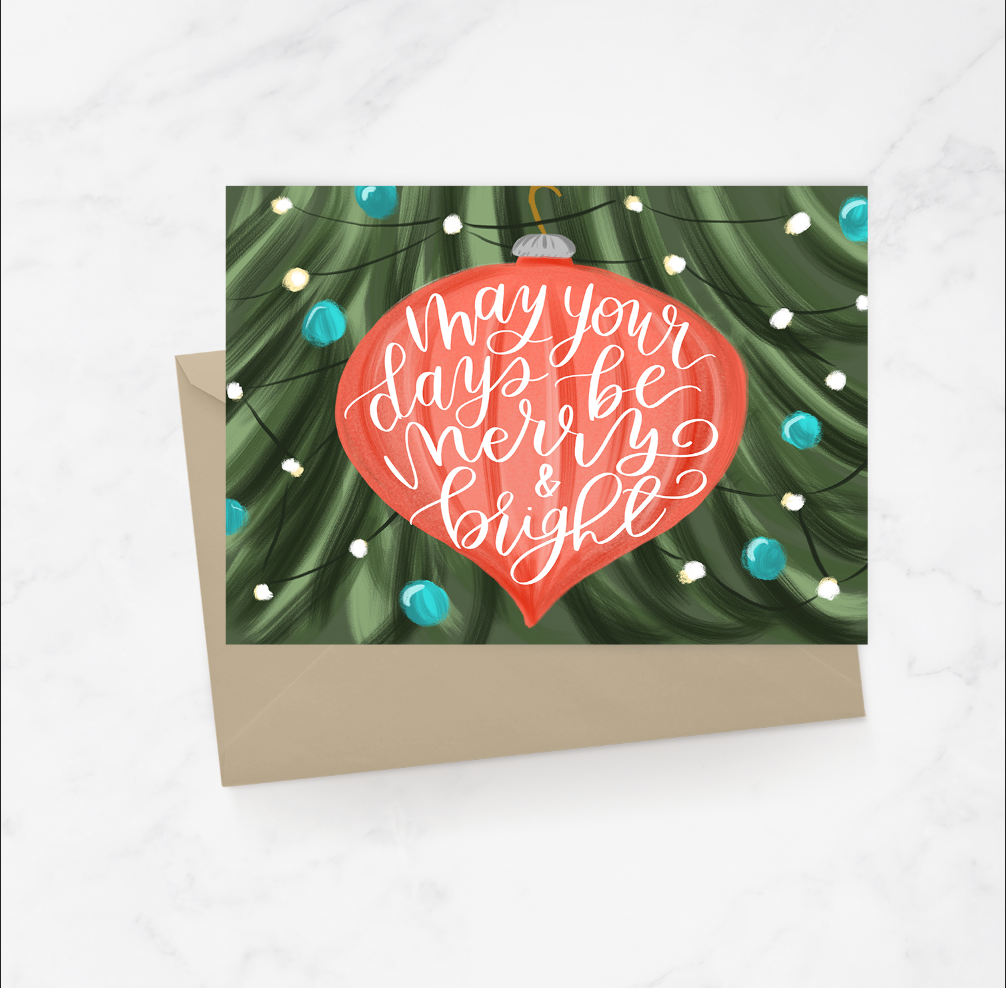 Merry and Bright Ornament Greeting Card