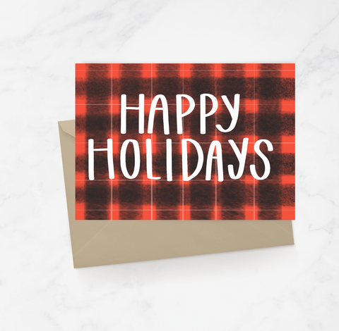 Happy Holidays Buffalo Plaid Greeting Card
