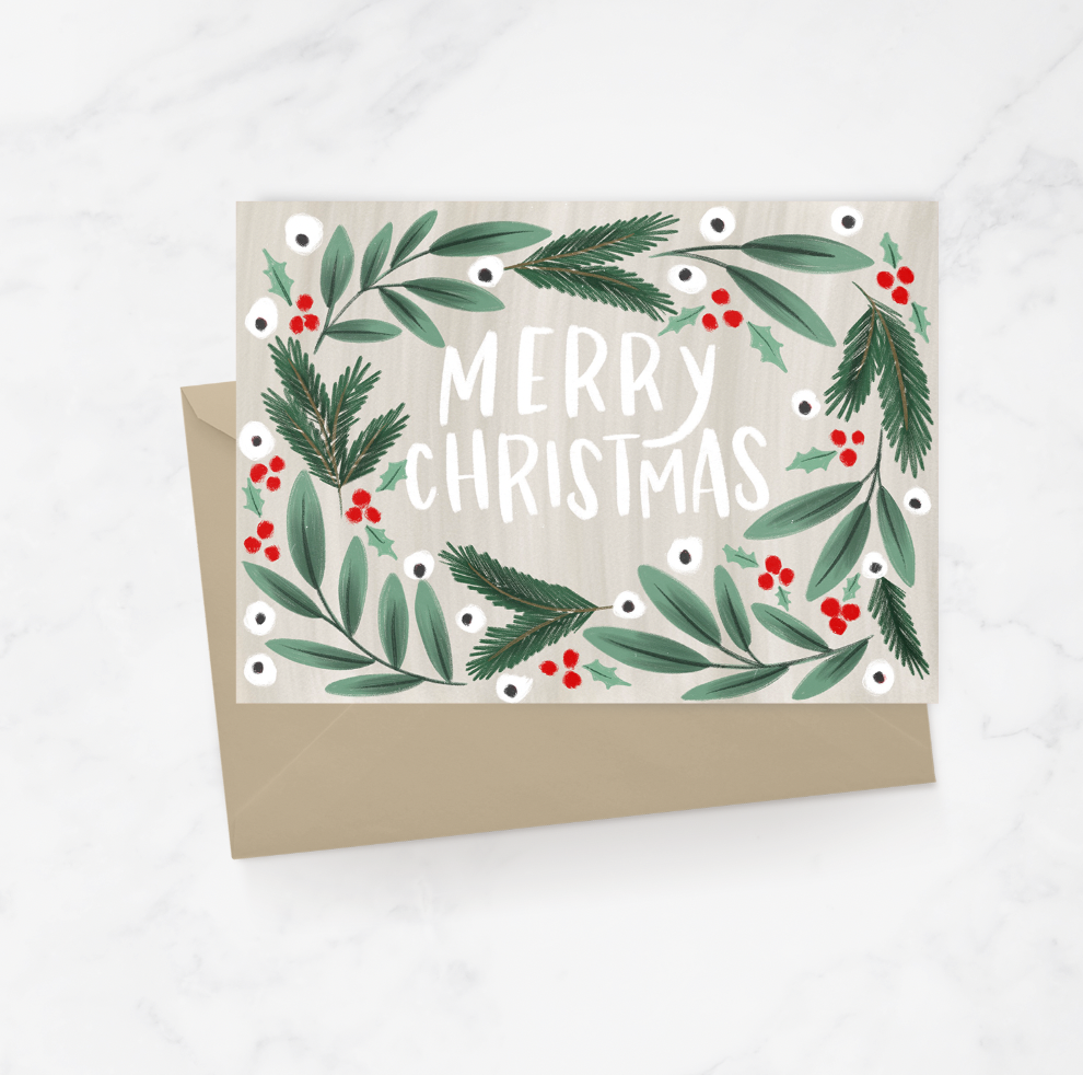 Merry Christmas Wreath Greeting Card