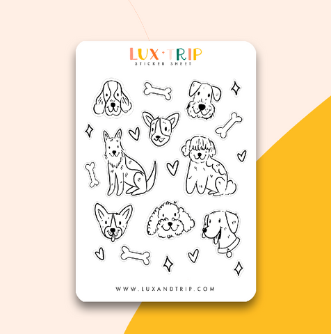 Color Me In! Dog Sticker Sheet