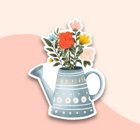 Watering Can Florals Sticker