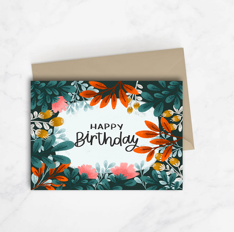 Happy Birthday Dark Foliage Card