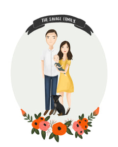 Custom Full Body Floral Portrait