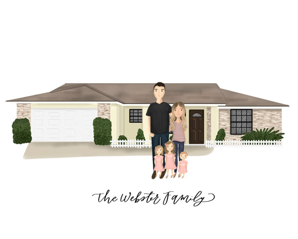 Custom Home Illustration + Portrait