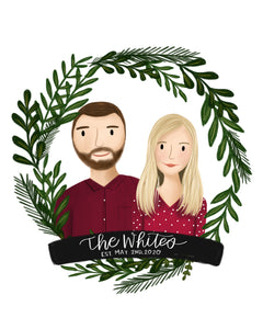 Foliage Wreath Portrait Illustration