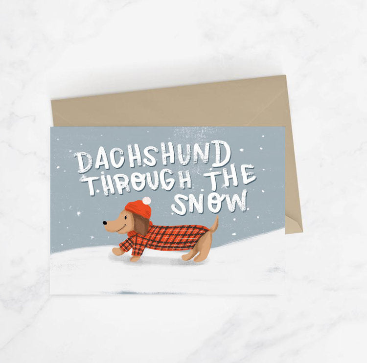 Dachshund Through The Snow Christmas Card