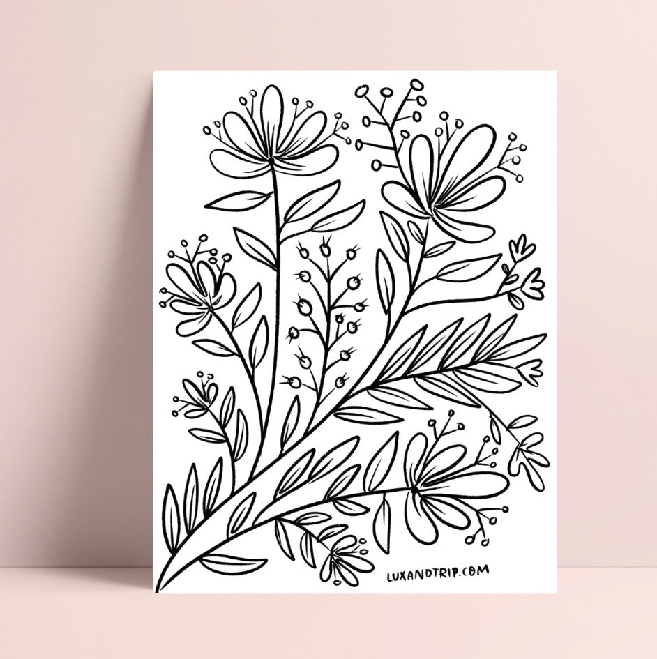 Printable Florals and Leaves Coloring Page