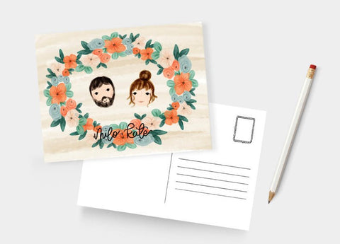 Custom Floral Illustration Post Card