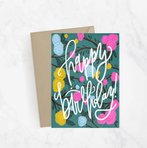 Happy Birthday Floral Branch Greeting Card