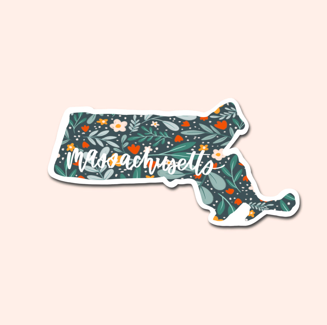 Massachusetts Floral Pattern Sticker