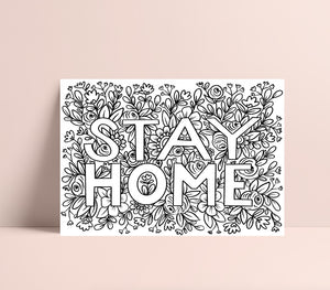 Printable Floral STAY HOME Coloring Page