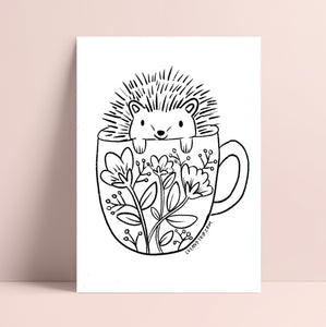Printable Hedgehog Coloring Page